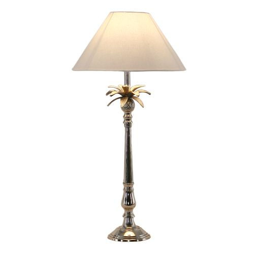 Nickel Pineapple Leaf Lamp with White Shade