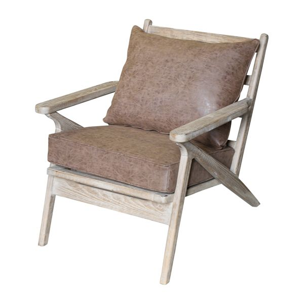 Ash Wood Chair with Brown Cushions