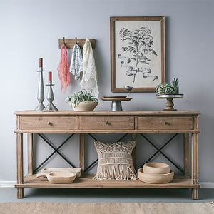 Timber 3 Drawer Console with Metal Cross