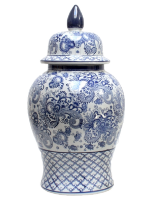 Blue & White Toile Ginger Jar