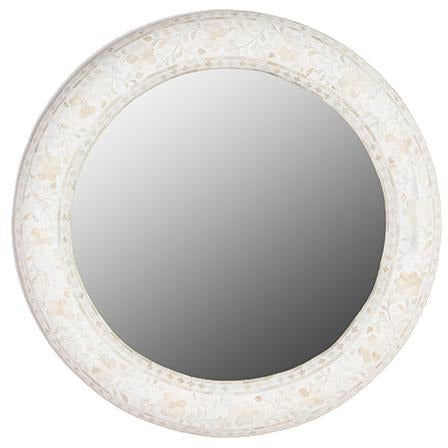 Floral Bone Inlay Round Mirror