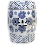 Blue and White Ceramic Drum Stool