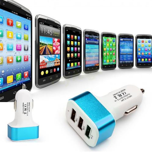 Triple universal USB car charger