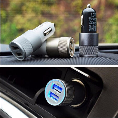 USB 2 Aluminium car charger