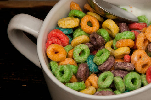 bowl of fruit loops and milk