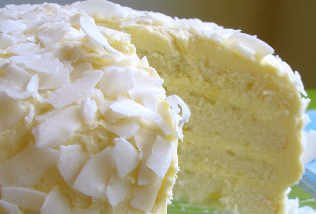 white cake with coconut icing