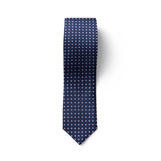 Square Patterned Blue Tie