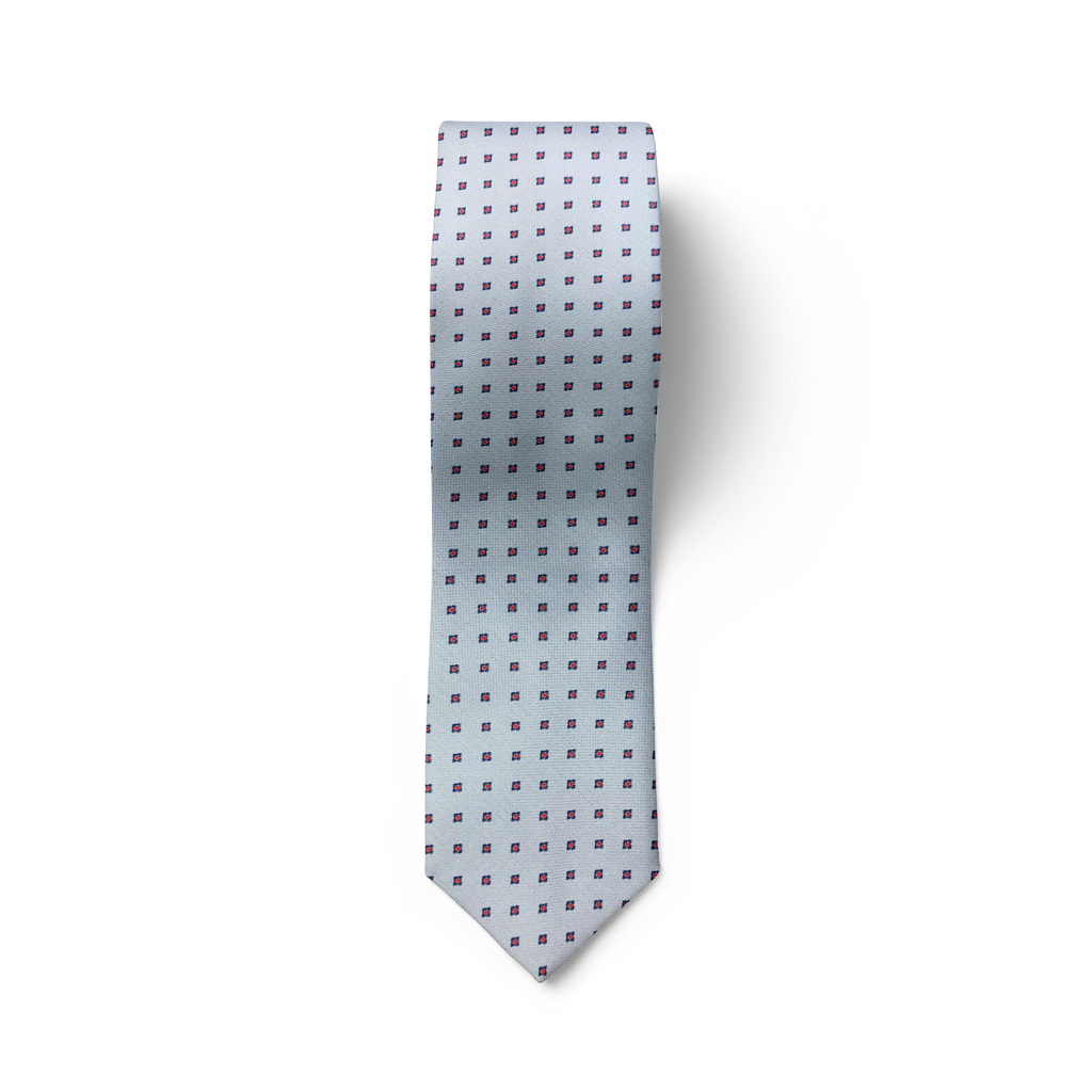 Square Patterned Light Silver Grey TIe