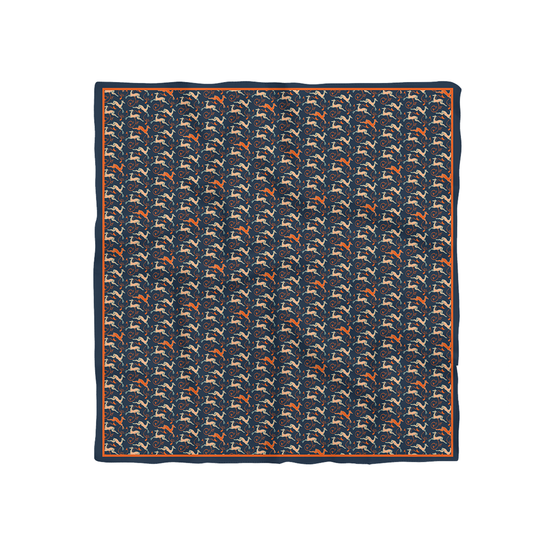 Irmis Nakhtomi (The Deer's Leap) Silk Scarf (Dark Blue; 68cmx68cm)
