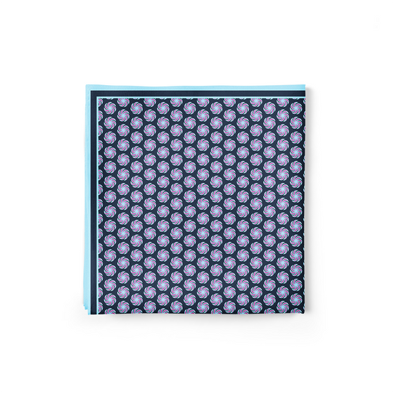 Borjgali Pocket Square (Small Print; Dark Blue)