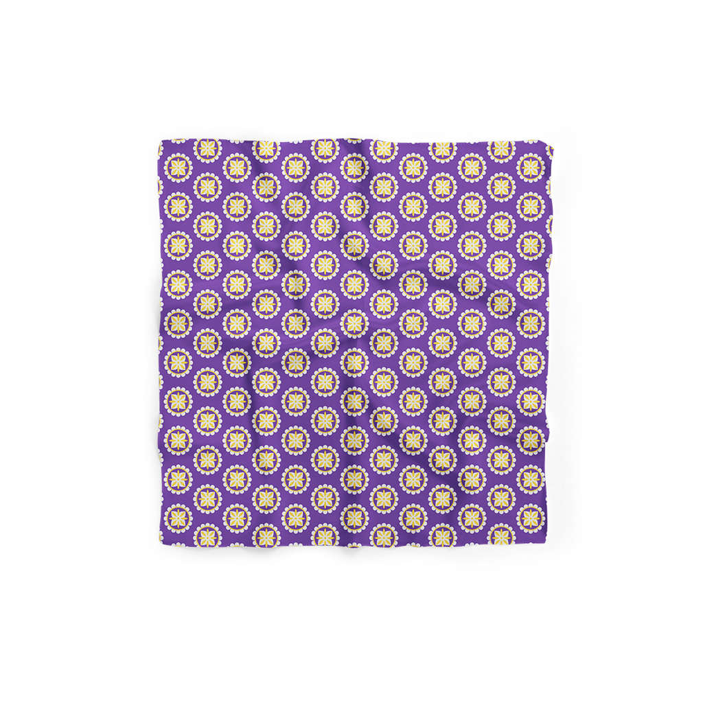 Royal Flower Violet Silk Scarf (42cmx42cm)