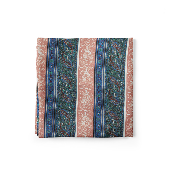 Striped Paisley Silk Pocket Square