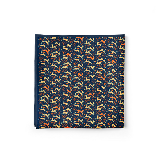 The Deer's Leap Pocket Square (Dark Blue)