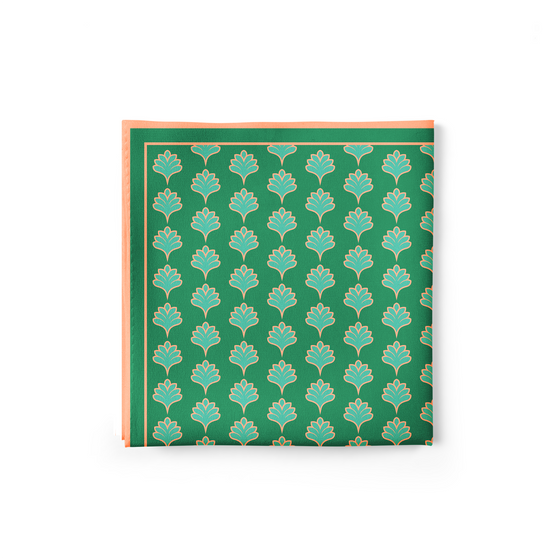 Green Tulips Pocket Square