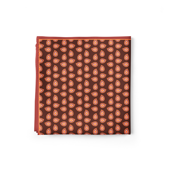 Brown Paisley Pocket Square