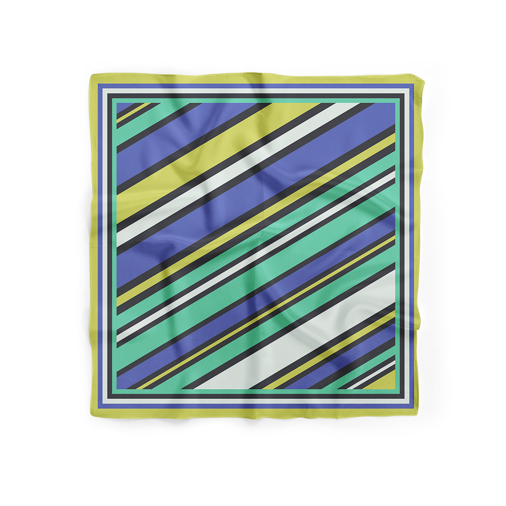 Rainbow Striped Silk Scarf (69cmx69cm)
