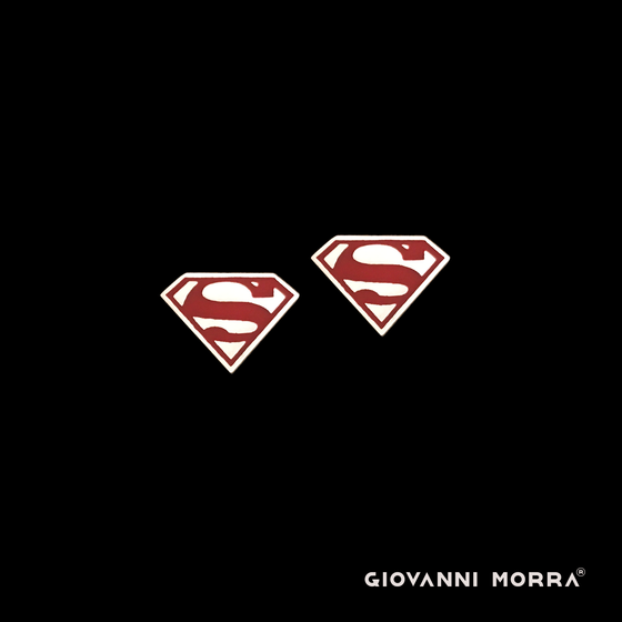 Superman Cufflinks - Dark Red (Silvered Brass)