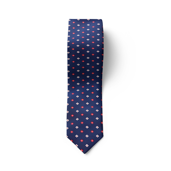 Red White Square Tie