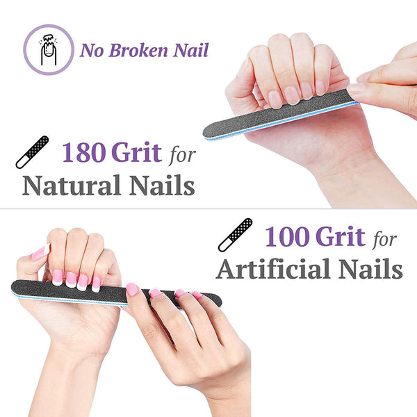 100/180 120/240 Combo Pack Nail File / Emery Board with 2 Piece Buffer Block Set - For Smooth and Shiny Nails - Home or Professional Manicure / Pedicure Kit