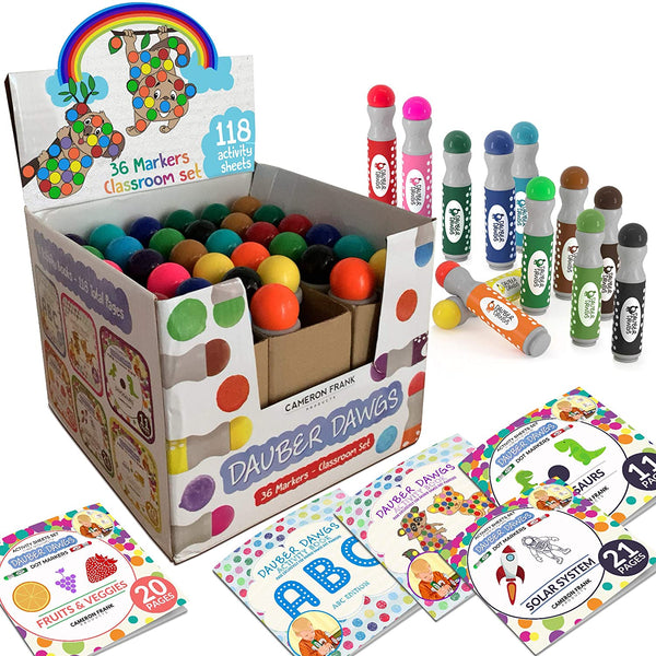Washable Dot Markers 36 Pack With 121 Activity Sheets For Kids, Gift Set With Toddler Art Activities, Preschool Children Arts Crafts Supplies Kit, Special Holiday Bingo Dabbers Dobbers, Dauber Dawgs