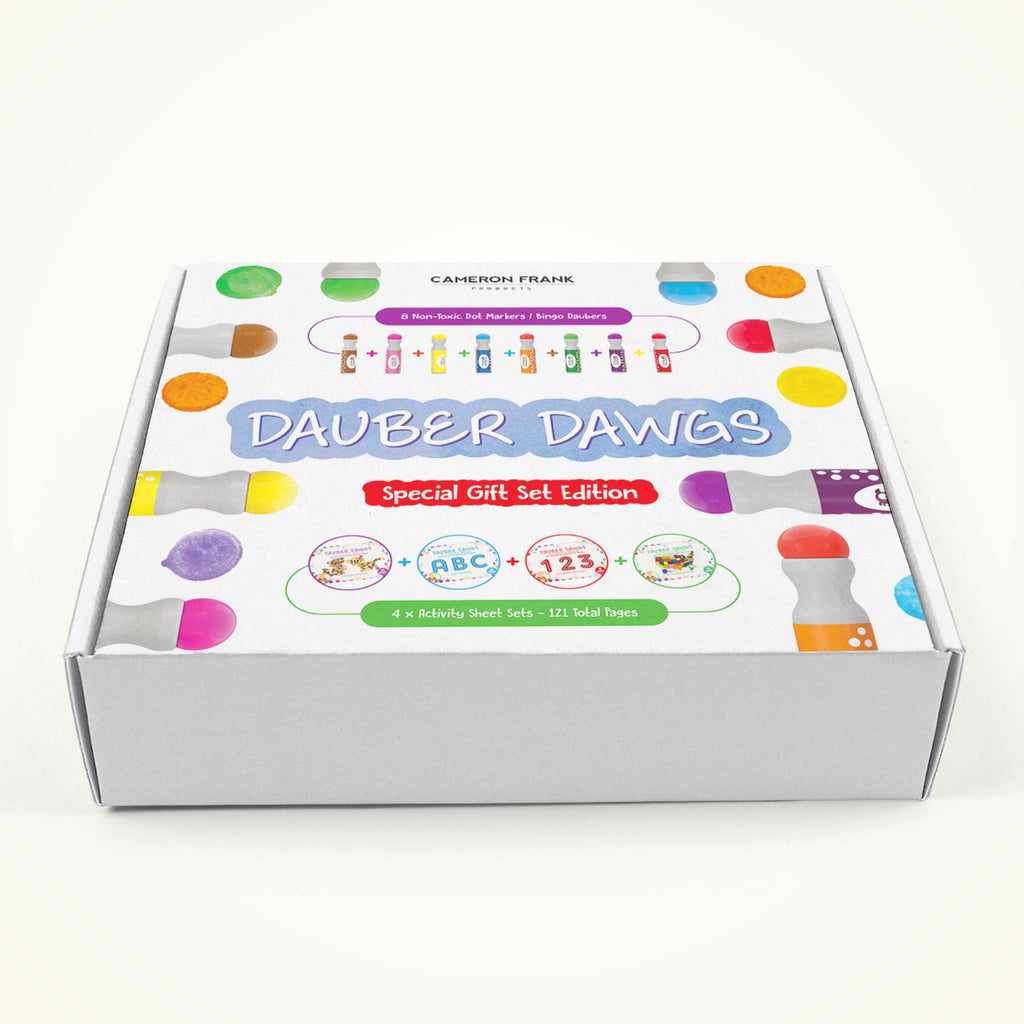 Dot Markers 8 Pack GIFT SET With 121 Activity Sheets For