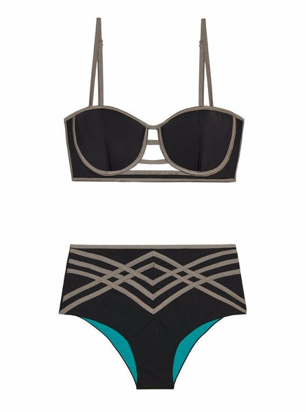Black & Gold High-Waisted Bikini