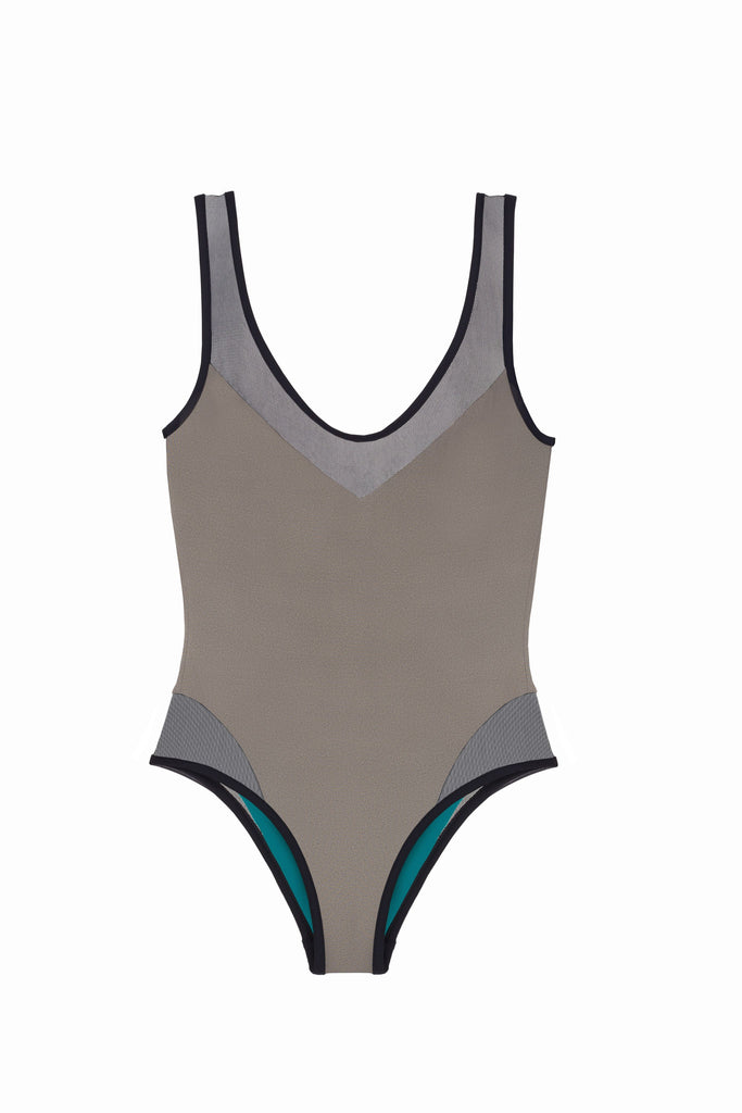 Grey Italian One Piece Swimsuit