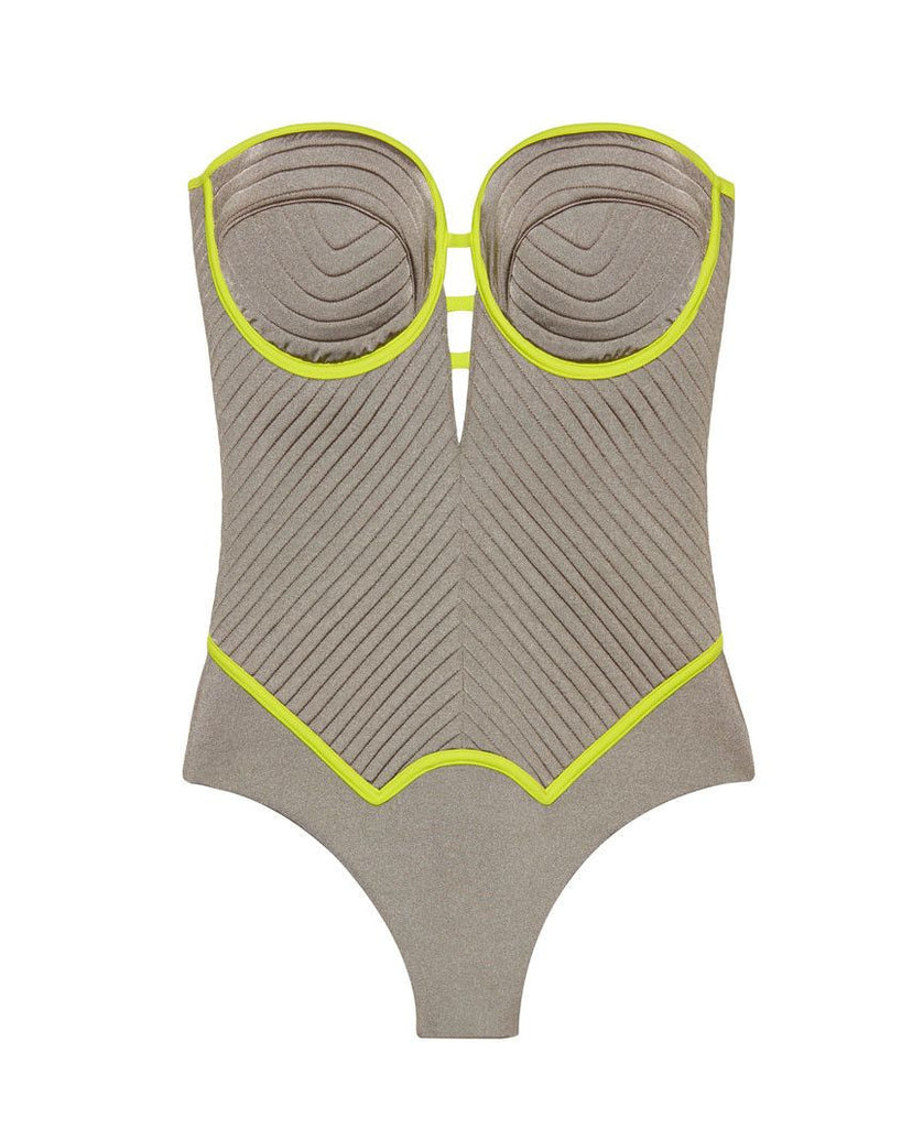 Grey & Yellow Retro One Piece Bathing Suit