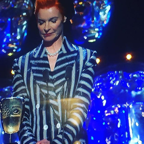 SANDY POWELL ACCEPTING HER BAFTA