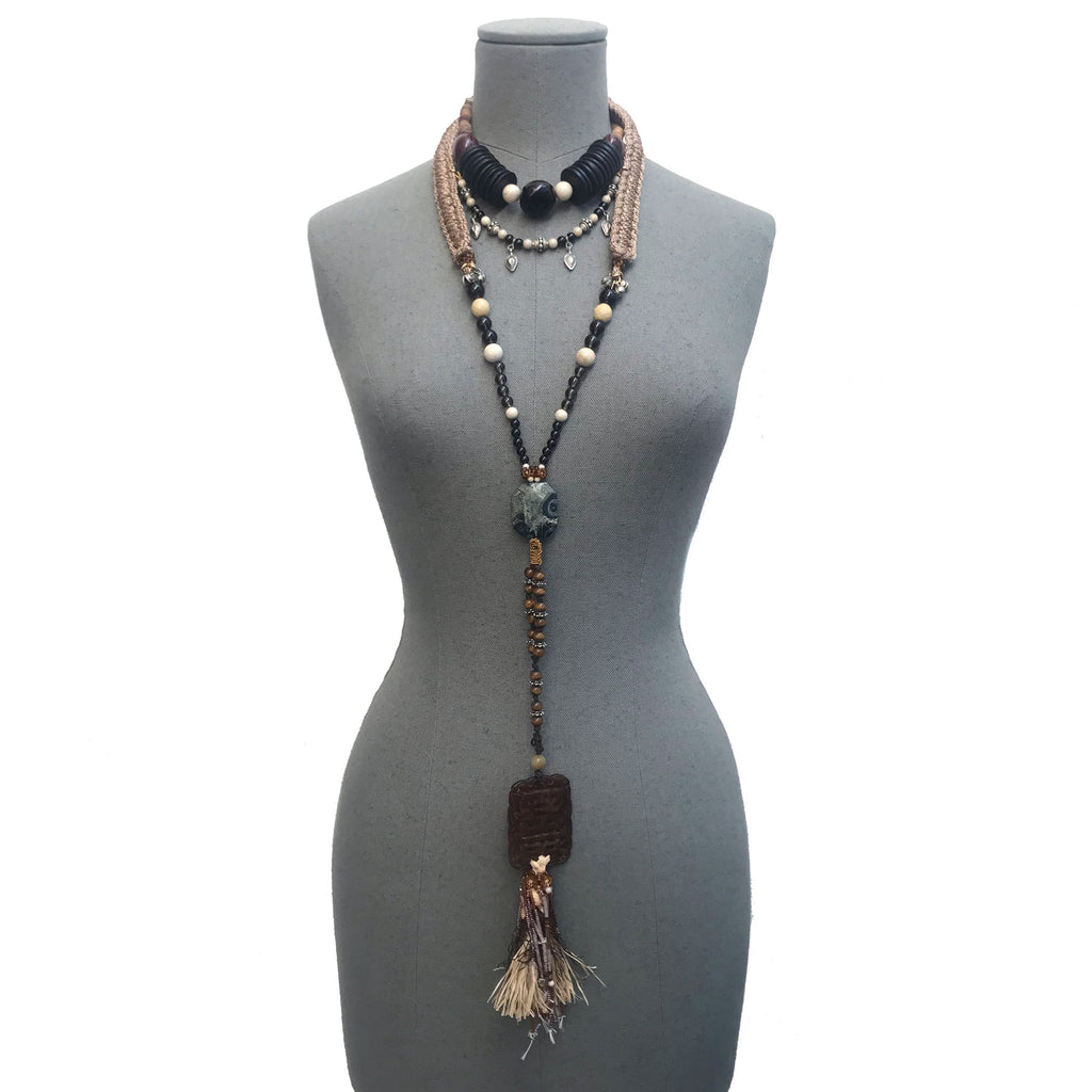 Gaia Black Beaded Necklace