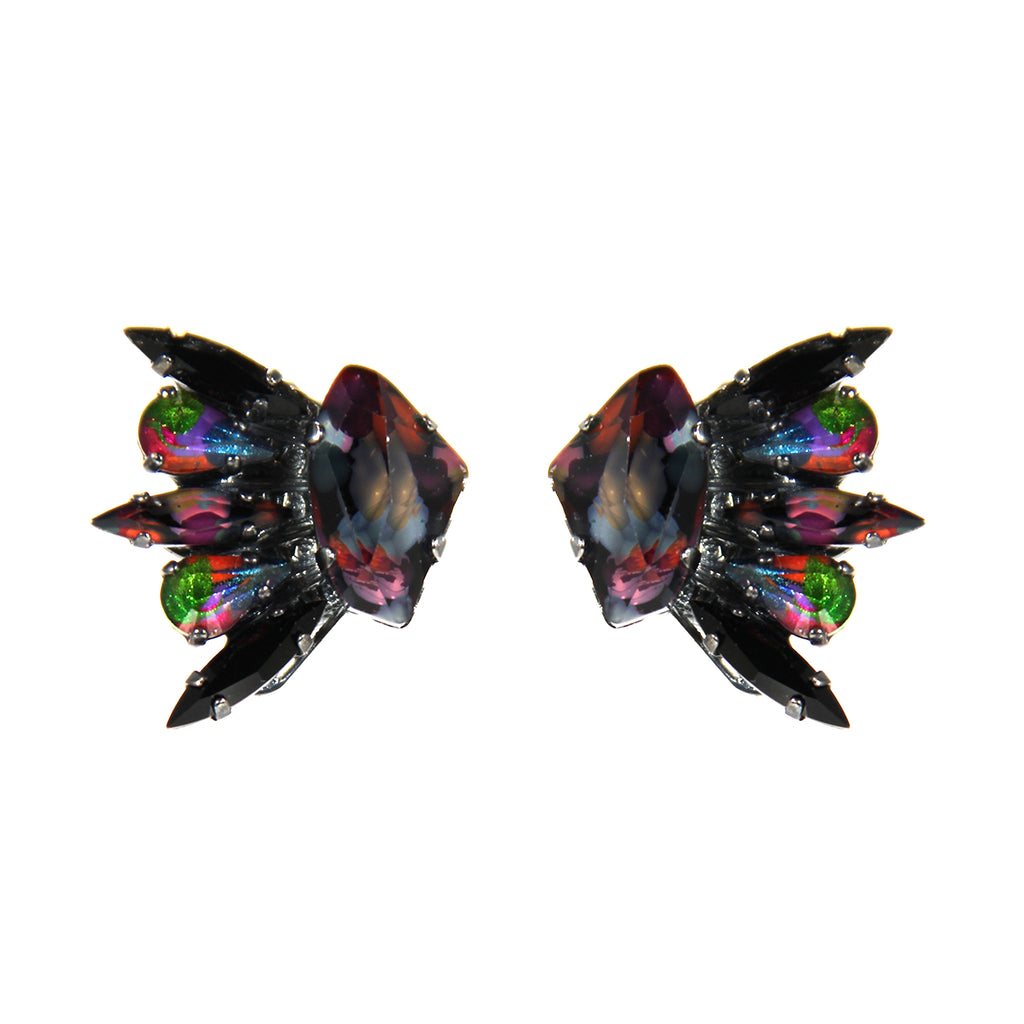 Earthly Delights Gunmetal Winged Earrings