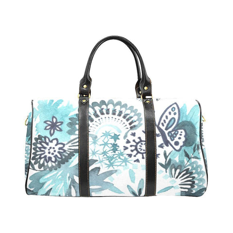 Something Blue Floral Waterproof Travel Bag with Black Handles and Trim
