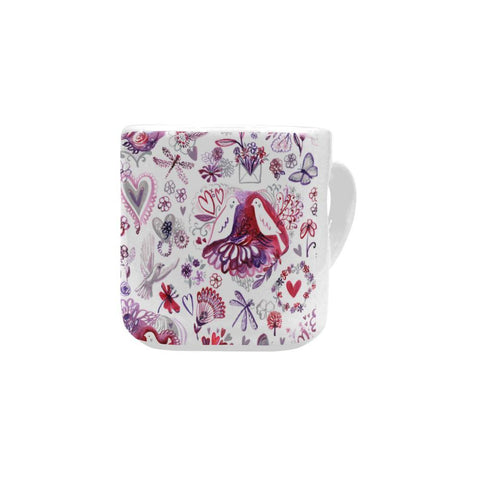 Watercolor Birds and Nature - Valentine's Day Mug - Heart Shaped Handle