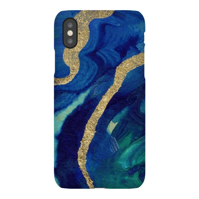 iPhone X Blue and Gold Marble Phone Case - Something to Cherish - Gifts for life because life is a gift.