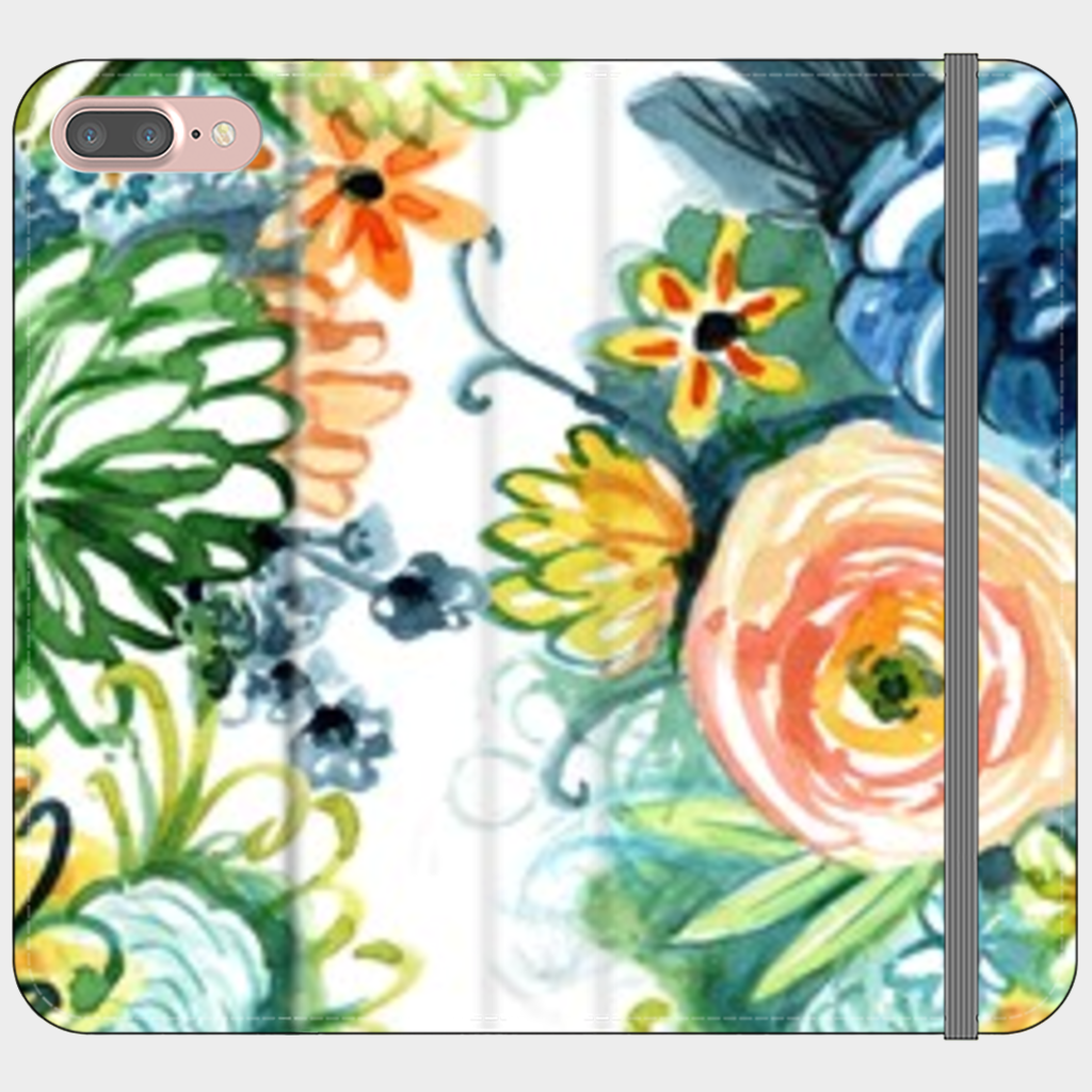 Satin Folio Wallet iPhone Case - Cultivate Joy Watercolor Floral - Something to Cherish - Gifts for life because life is a gift.