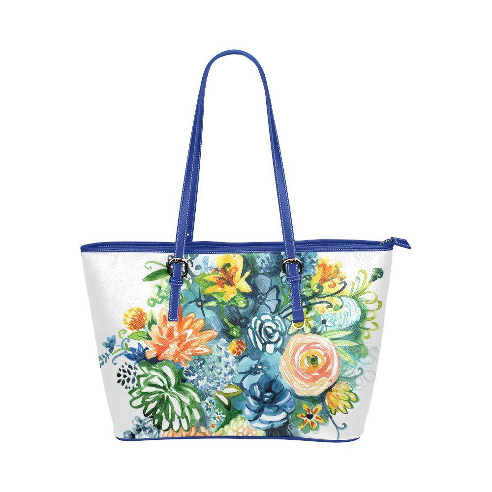 Large Blue Shoulder Bag - Cultivate Joy Faux Leather Tote Bag - Something to Cherish - Gifts for life because life is a gift.