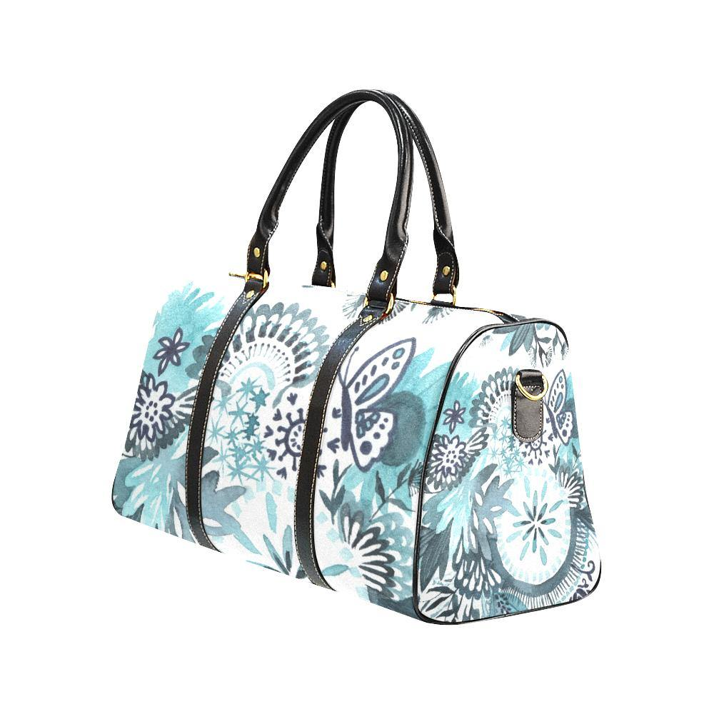 Something Blue Floral Waterproof Travel Bag with Black Handles and Trim - Something to Cherish - Gifts for life because life is a gift.