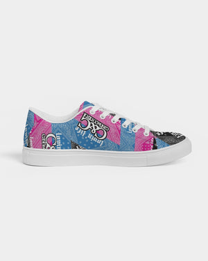 Pink, Blac and blu bandana  Women's Faux-Leather Sneaker