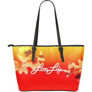 Lovin' Life Orchid Large Leather Tote Bag