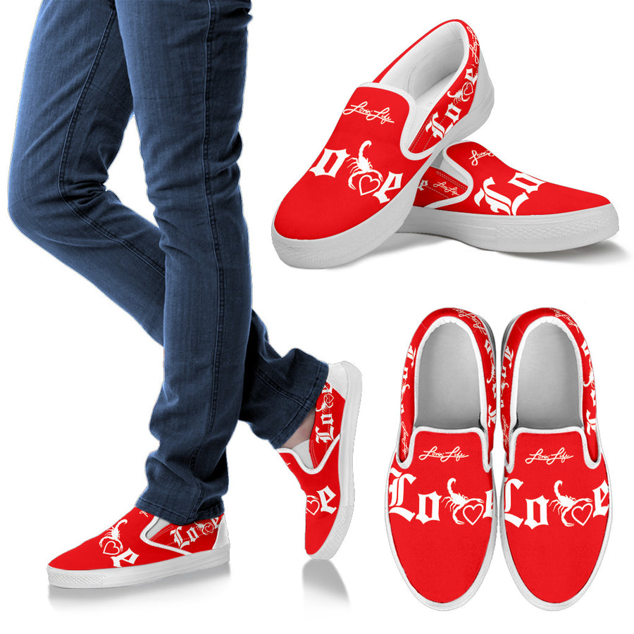 Men's - Lovin' Life - SELF LOVE - red heart Slip Ons