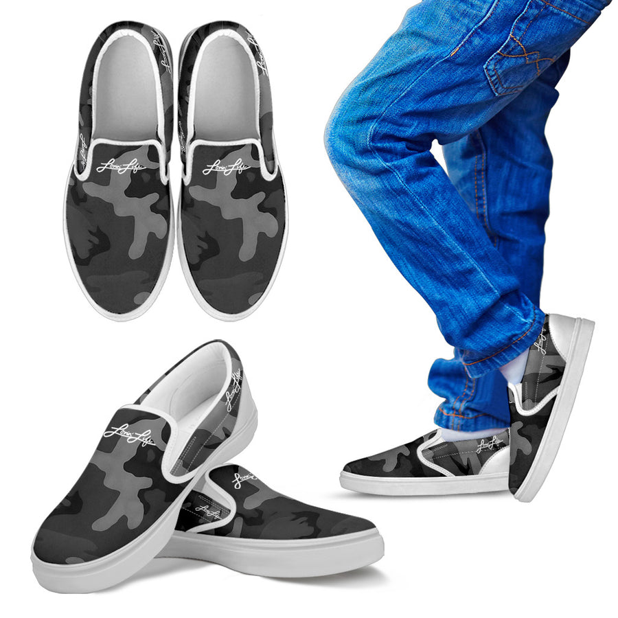 Kid's - Lovin' Life camo Slip On's