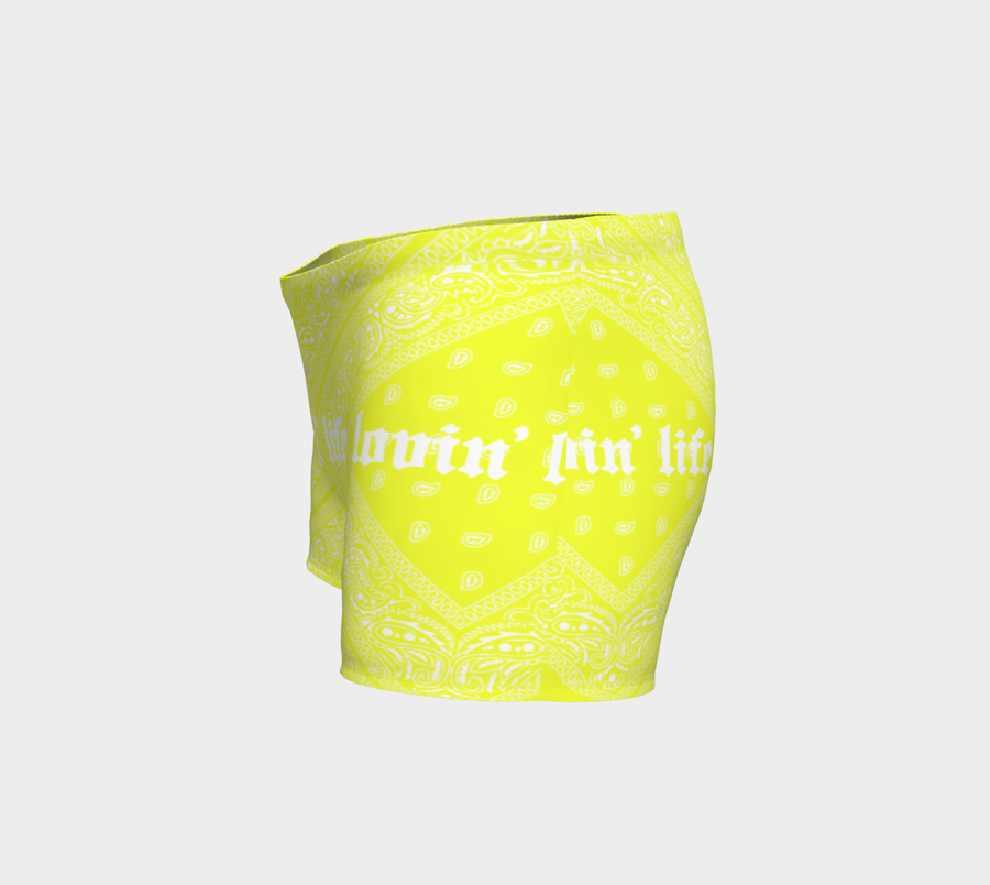 Lovin' Life el hefe yellow Workout shorts
