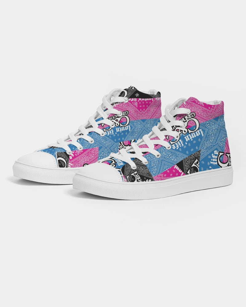 Pink, Blac and blu bandana  Women's Hightop Canvas Shoe