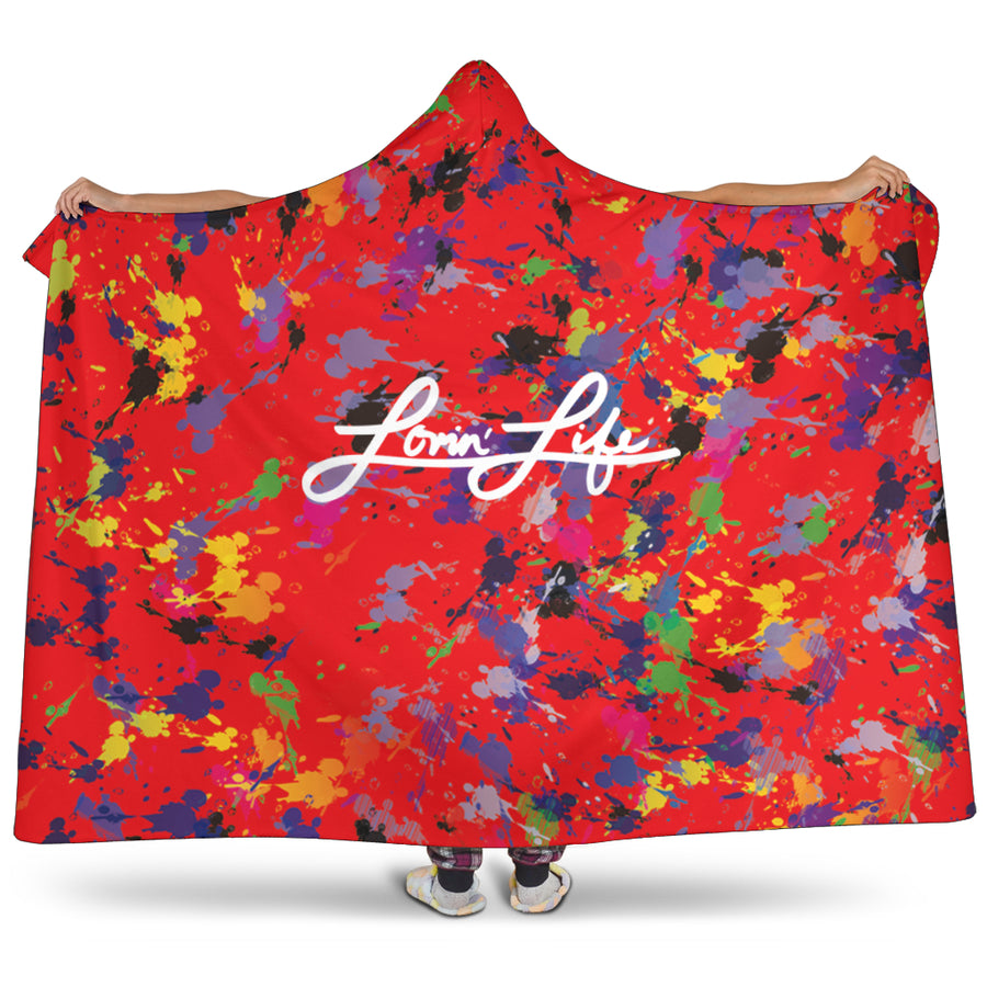 Lovin' Life Artsy - Red Hooded blanket