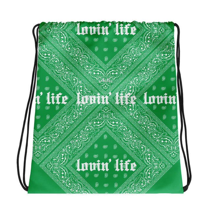 Lovin' Life - el hefe green Drawstring bag