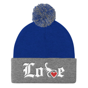 Lovin' Life - SELF LOVE - red heart/white Pom Pom Knit Cap