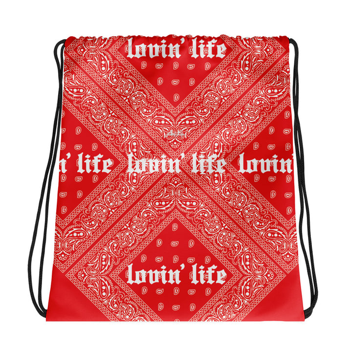 Lovin' Life - el hefe red Drawstring bag