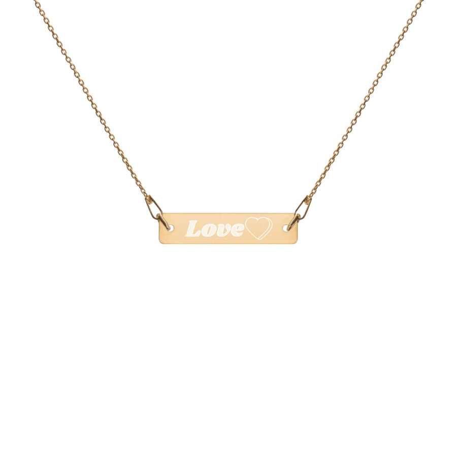 Love heart Engraved Silver Bar Chain Necklace