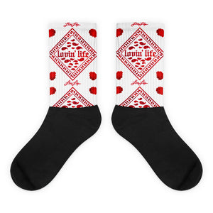 Rosey Red Black foot socks