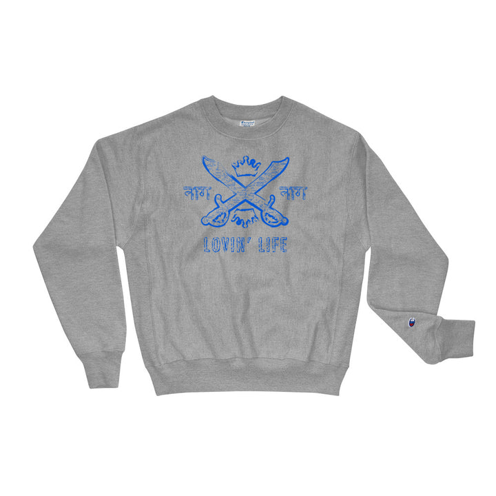 LOVIN' LIFE X CHAMPION MEMBERS ONLY - SYNDICATE FAMILY SWEATSHIRT - blu